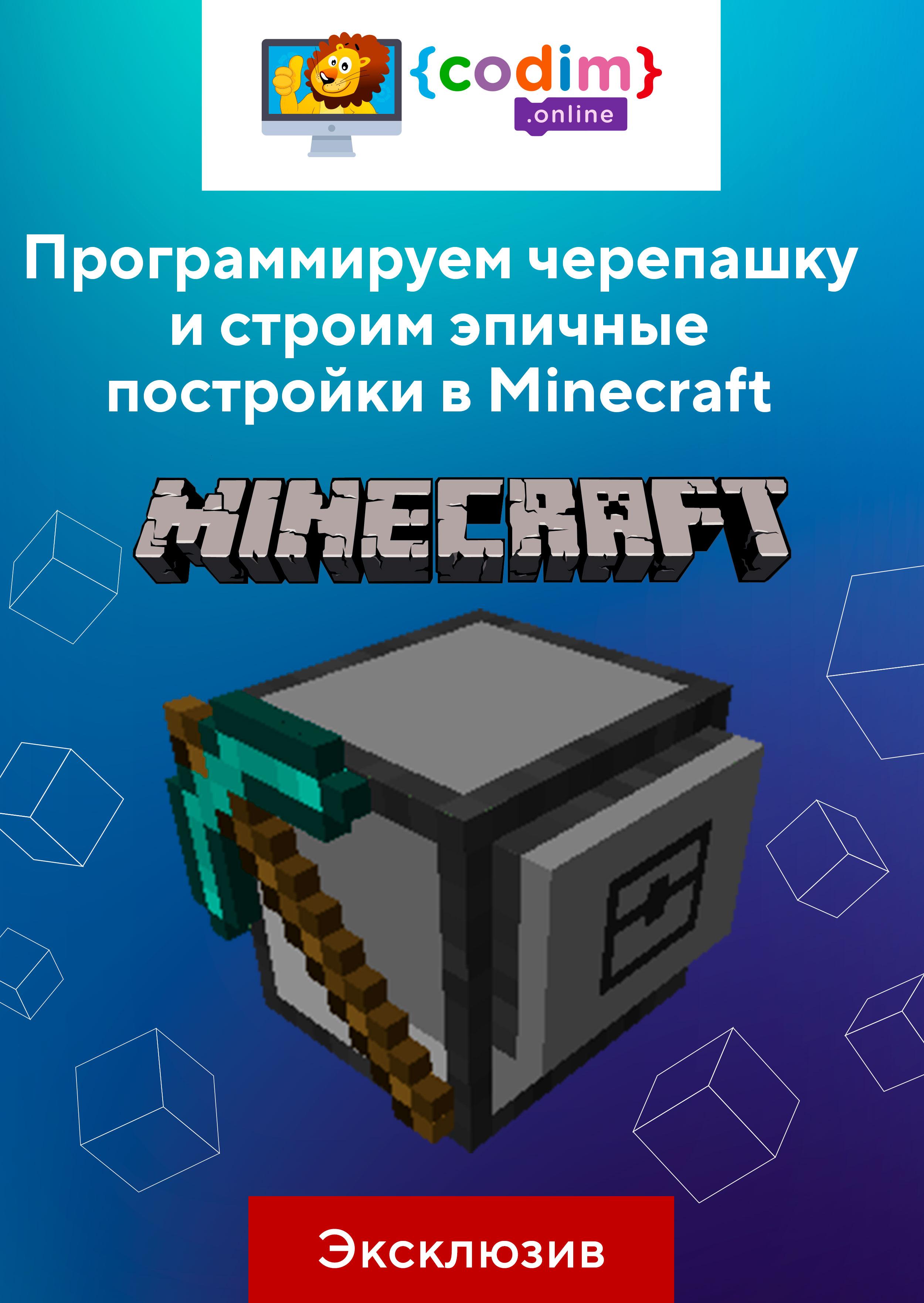Программируем черепашку и строим эпичные постройки в Minecraft